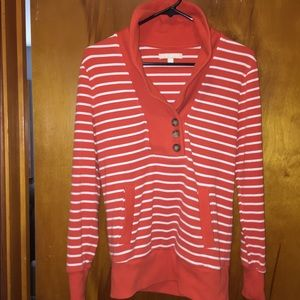 Banana Republic Cowl button stripped sweatshirt